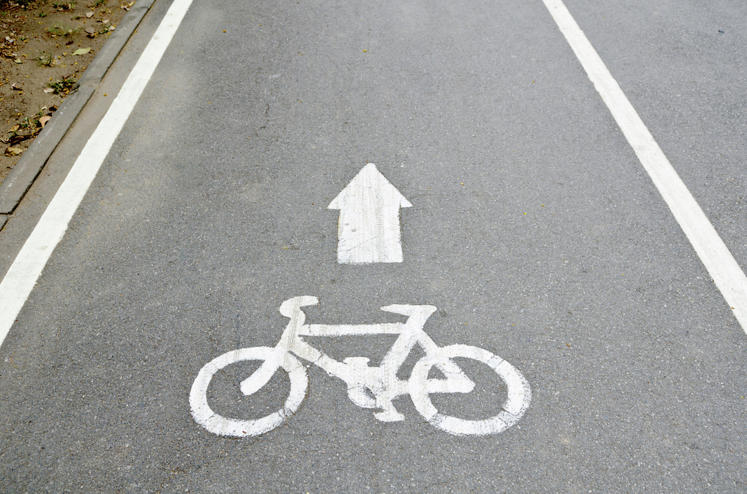 Bicycle lane on the road .